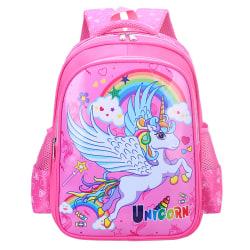 Kids Cartoon Unicorn Backpack Primary School Bag Red