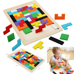 Kids Children Educational Toy Wood Tetris Puzzle Stacking Blocks