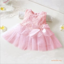 Kids Girls Princess Dress Baby Party Lace Tulle Tutu Pink