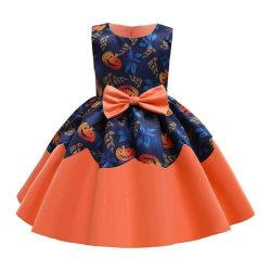 Kids Girls Pumpkin Sleeveless Bowknot Skater Dress Party Multicolored 3-4 Years