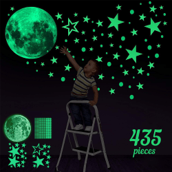 Kids Room Decal Glow In The Dark Stars Moon Planet Stickers