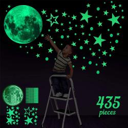 435st Barn Dekal Glow In The Dark Stars Moon Planet Stickers