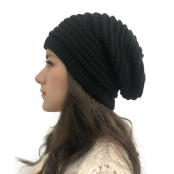 Knit Beanie Hats for Women Men Fleece Lined Cap Winter Hat Black