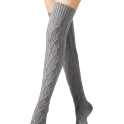 Women Striped Over The Knee Thigh High Stockings Long Socks # 2-Grey
