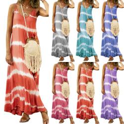 Kvinnor Gradient Stripe V-neck Sleeveless Dress Orange 3XL