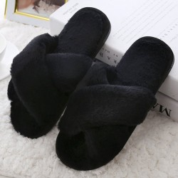 Kvinnor Home Slipper Cross Plush Shoes Black 39