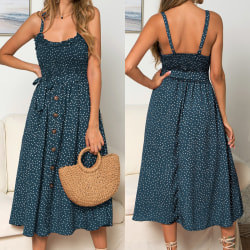 Kvinnor Sling Ruffle Summer Dress Blue S