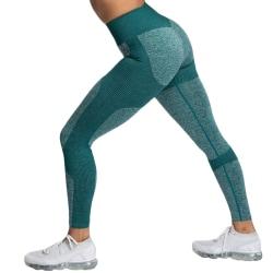 Kvinnor Stretch Gym Leggings Seamless Yoga Pants Ink Green S