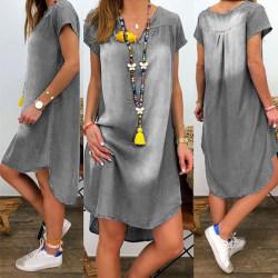 Kvinnor V-neck Short Sleeve Denim Dress Blue M