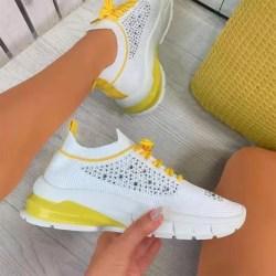 Kvinnors Löparskor Snörning av Träningsskor Yellow 37