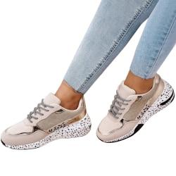 Kvinnors Snörningstränare Jogging Fitness Sports Sneaker Shoes Gold 37