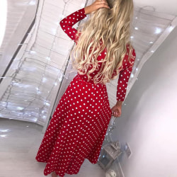 Kvinnot Polka Dot V-neck Long Sleeve Split Dress Red XL