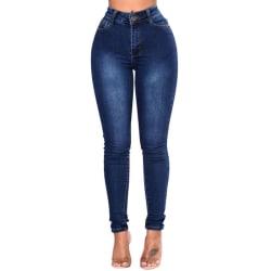 Ladies Denim Tight Pencil Slim Jeans Deep Blue L