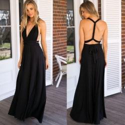 Ladies Long Wrap Dress Party Multiway Maxi Dress Svart