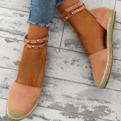 Ladies Low Flat Heels Gladiator Stud Ankle Strap Rome Pink 36