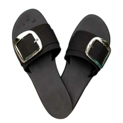 Dam Slip On Mules Buckle Summer Beach Sandals Skor Svart Black 42