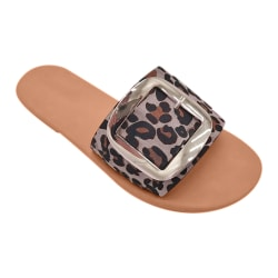 Dam Slip On Mules Buckle Summer Beach Sandaler Skor Leopard