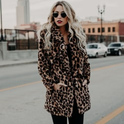 Leopard Lapel Overcoat Women Fashion Thick Autumn leopard M