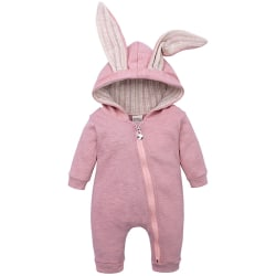 Lovely Cute Baby Rabbit Ears Cotton Hooded Pink 80 cm