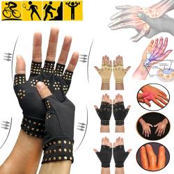 Magnetic Copper Compression Gloves Anti-arthritics Black One size