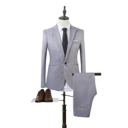 Man Business Slim Blazer Suit Tuxedo Coat Long Pants Formal Grey 2XL
