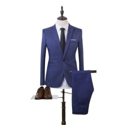 Man Business Slim Blazer Suit Tuxedo Coat Long Pants Formal Light Blue M