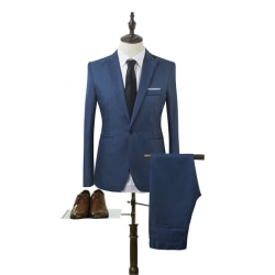 Man Business Slim Blazer Suit Tuxedo Coat Long Pants Formal Royal Blue M