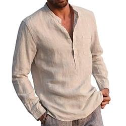 Män Casual Långärmad Henley T-shirts Knapp V-ringad höst Khaki L