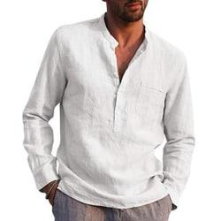 Män Casual Långärmad Henley T-shirts Knapp V-ringad höst White M