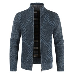 Men Fashion Knitted Zip Up Cardigan Warm Winter Jumper Dark Cyan XL