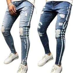 Men Fashion Lateral Line Design Ripped Jeans LightBlue S