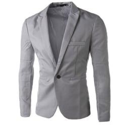 Men Formal Cardigan Suit Coat Blazer Business One Button Jacket Grey 3XL