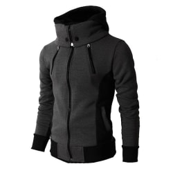 Herr Hoodie Zip Up Coat Sweatshirts Vinter varmare sportjacka Dark Grey L