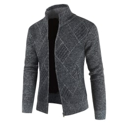 Men Lingge Knitted Seam Pocket Jacket Winter Zipper Coats dark grey L