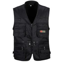 Män Multi Pocket Utility Waistcoat Fiske Arbetskläder Black 3XL