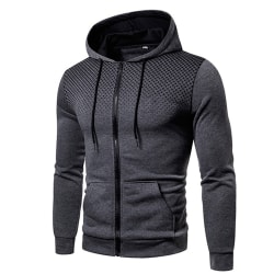 Men Printing Zip Up Hoodie Hooded Sweatshirt Jumper Pullover Grey 2XL