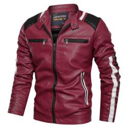 Män PU Bomberjacka Fit Biker Coat Outwear Toppar Red XL