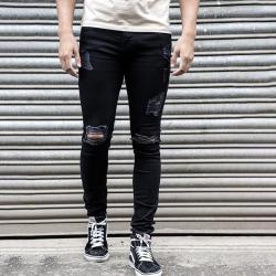 Men Ripped Hole Slim Denim Jeans Black L