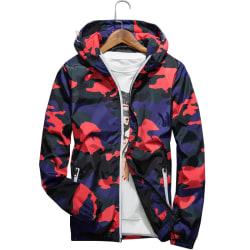 Camouflage herr vindtät vindjacka jacka med dragkedja Red L