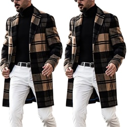 Men's casual lapel collar mid-length plaid coat trench coat Lattice 3XL