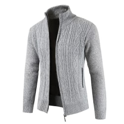 Men's diamond knit stand collar cardigan winter jacket Light grey 2XL