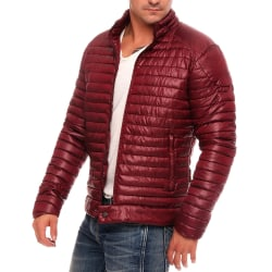 Men's down jacket solid color striped cotton jacket Red wine XL