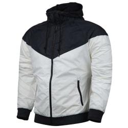 Men's drawstring hooded jacket sport sweatshirt Windproof jacket White 3XL