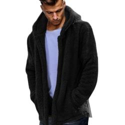 Luvjacka för herrjacka med luvtröja avslappnad tröja Black 2XL