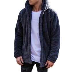 Men's Fleece Hooded Jacket Hoodie Casual Sweatshirt  Blue M