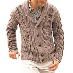 Men's jacket single-breasted knitted jacket cardigan jacket Brown M