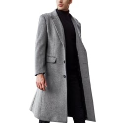 Men's lapel long trench coat Men's trench coat single-breasted Gray M