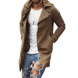Men's lapel mid-length trench coat casual jacket trench coat Khaki XL