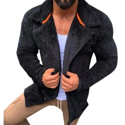 Men's lapel pocket jacket Long sleeve zipper jacket warm winter Black M