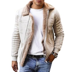 Men's lapel thick jacket men's retro lapel leather jacket Apricot L